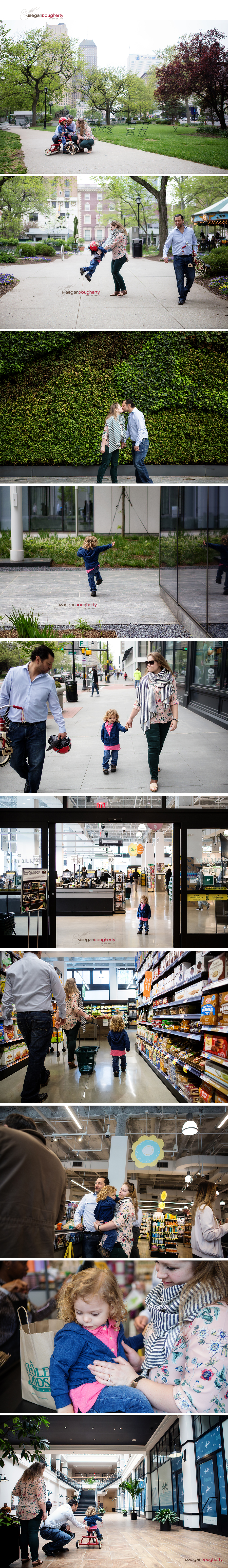 family with two year old boy goes for walk around their urban neighborhood in new jersey with photograph
