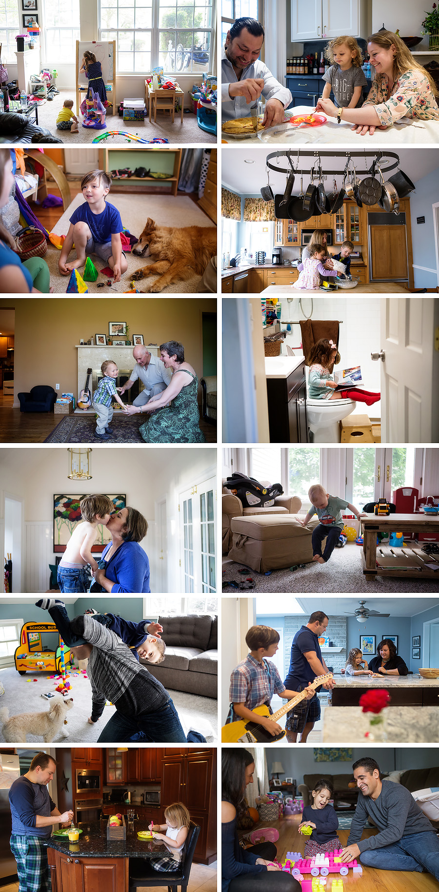 this shows photographs of families in their new jersey homes.